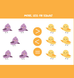 Compare how many birds are there more or less vector