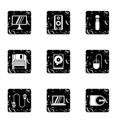 Computer setup icons set grunge style vector