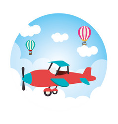 Cute ariplane flying icon vector