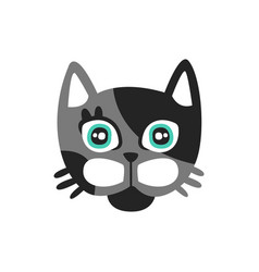 cute black and gray cat head funny cartoon animal vector image