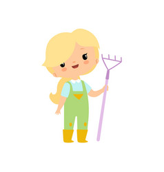 Cute young girl in overalls and rubber boots with vector