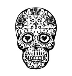 Day of the dead skull sketch vector