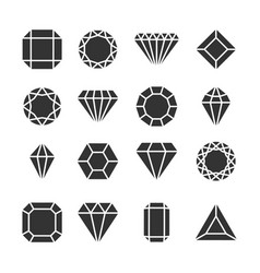 diamonds icons or shapes isolated on white vector image