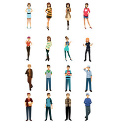 different teenagers in different styles and poses vector image
