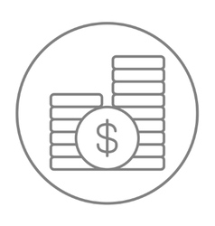 Dollar coins line icon vector image