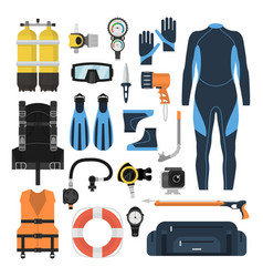 equipment for scuba diving in a flat style vector image