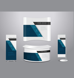 Exhibition stands with cover presentation vector