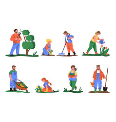 Farmers cartoon people planting flowers and vector