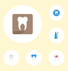 Flat icons radiology toothbrush dental crown and vector