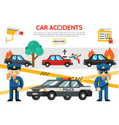 flat road accident icons set vector image