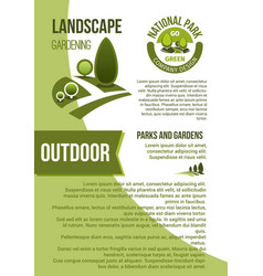 Gardens and parks landscape design poster vector