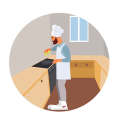 Guy hipster cooks vector