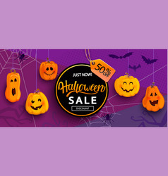 Halloween banner for sale with 50 percent discount vector