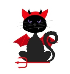 Halloween cat with devil bat wings vector