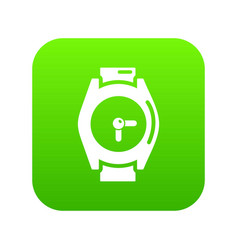 hand watch icon green vector image