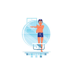 happy man coaches and swimmers have warm up vector image
