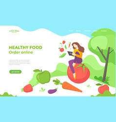 healthy food web page design with vegetables vector image
