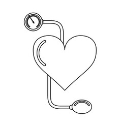 Heart and tensiometer black and white vector