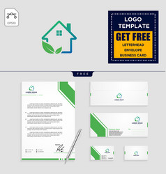 home leaf eco nature logo template and stationery vector image