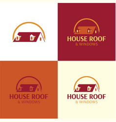 House roof and windows logo and icon vector