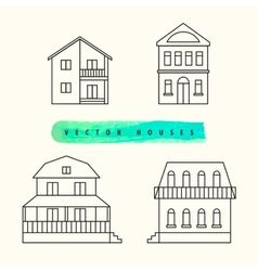 Houses set drawn black outline on a light vector