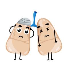 human sick lungs cartoon character vector image