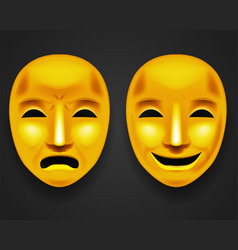 Isolated golden theatrical face mask sadness joy vector