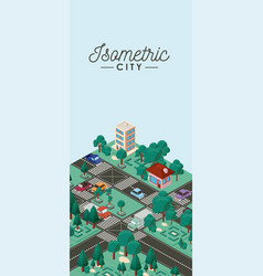 isometric city scene cards icons vector image