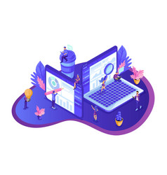 isometric design seo analytics vector image