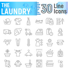 laundry thin line icon set clean symbols vector image