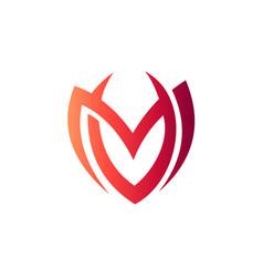 letter m v logo vector image