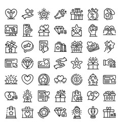 Loyalty program icons set outline style vector