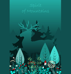 magic deer walking in the forest spirit of the vector image
