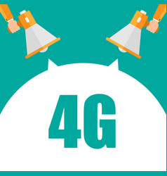 Man hand holding megaphone with network 4g vector