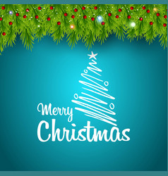 merry christmas green leaves background vector image