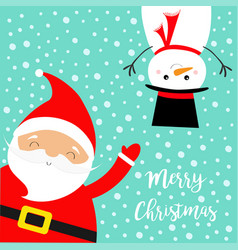 merry christmas set santa claus snowman vector image