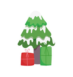 merry christmas tree with snow and gift boxes vector image