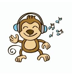Monkey listening music design for kids vector