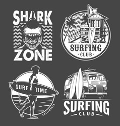 monochrome vintage surfing badges set vector image