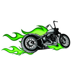 motorcycle with fire and flames vector image