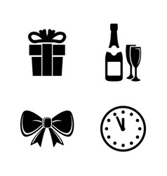 new year simple related icons vector image