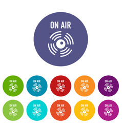 on air radio icons set color vector image