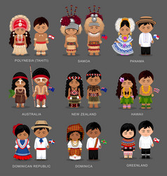 People in national dress australia and oceania vector