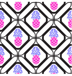 pineapples in rhombuses geometric seamless tile vector image