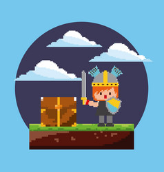 Pixel game arcade level knight character with vector