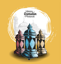 Ramadan mubarak colorful lantern hand drawing vector