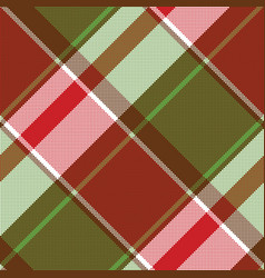 Red green abstract plaid seamless pixel pattern vector