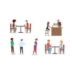 Restaurant or bar multinational clients set vector