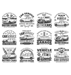 Retro car auto vehicle engine spare part icons vector