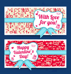 Romantic amorous horizontal banners vector